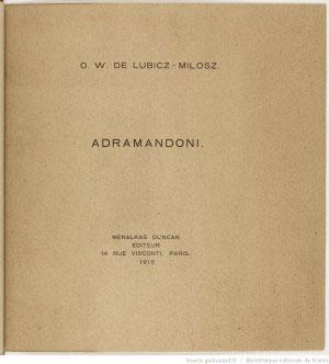 Adramandoni / O. W. de Lubicz - Milosz - 1918