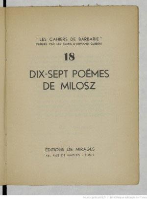 Dix-sept poëmes de Milosz - 1937
