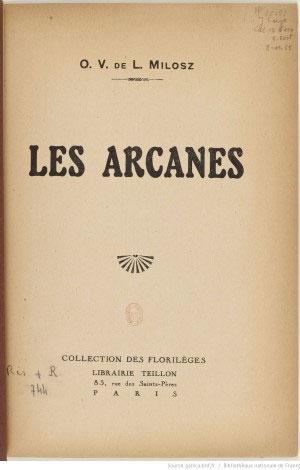 Les Arcanes / O. V. de L. Milosz - 1927